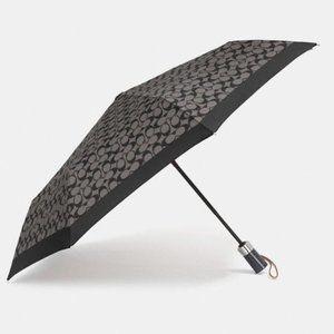 Coach Black Signature Logo Nylon Umbrella NWT